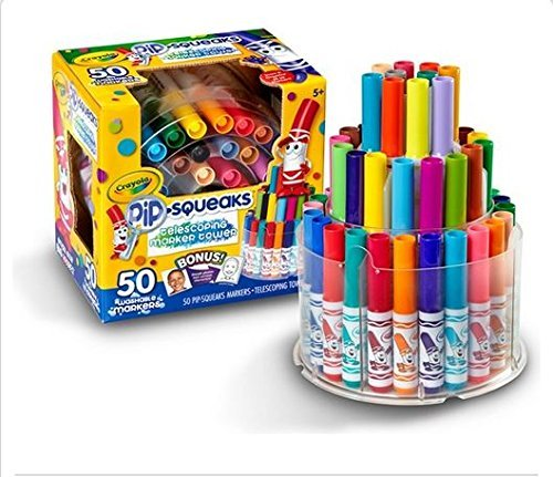 Crayola 588750 Pip-Squeaks Telescoping Marker Tower, Assorted Colors (Set of 50)