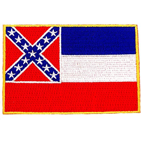 Mississippi State Flag Embroidered Patch Iron-On MS Emblem