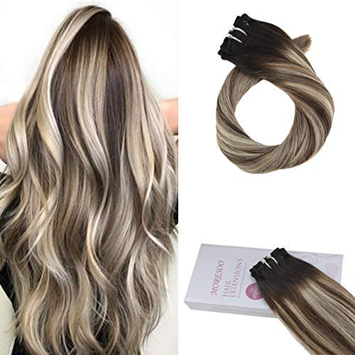 Moresoo 16 Inch Hair Extensions Clip in Human Hair 120G for Full Head Double Wefted Clip in Hair Extensions Color #1B Black Ombre #8 Brown Mixed #24 Blonde Sew in Weft