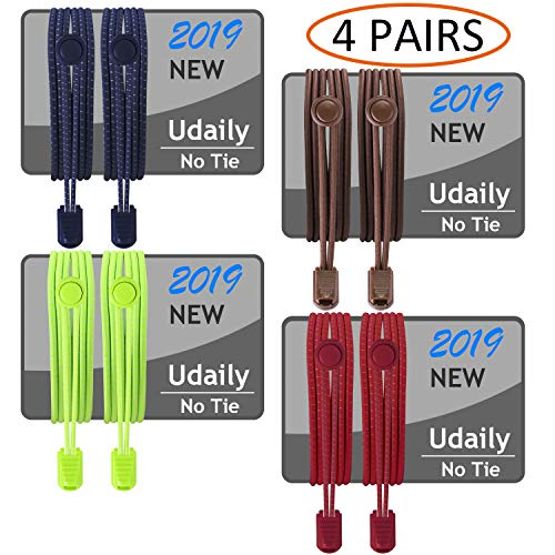 Udaily 1 or 4 Pairs No Tie Shoelaces for Kids and Adults, Elastic Shoe Laces for Sneaker