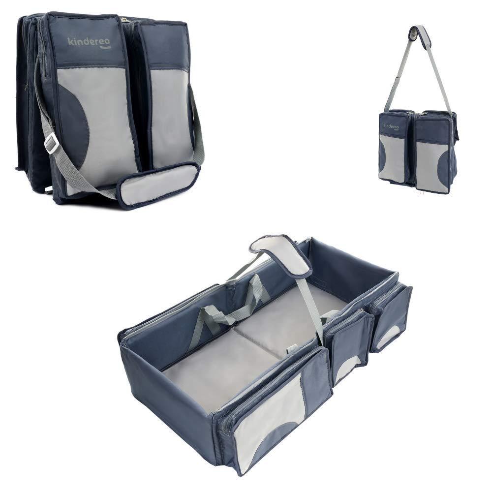 KINDEREO 4 in 1-Wickeltasche, Mehrzweck-Tasche, für Reisen, für Stubenwagen, für Babys und Kleinkinder, für Windeln, als Reisebett, Tragebettchen und Wickeltisch, tragbar, veränderbar für Reisen für Stubenwagen für Windeln veränderbar