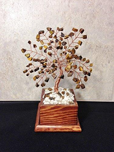 Tigers Eye Wire Gemstone Bonsai Tree of Life in Wood Flower Pot, Healing Feng Shui Gemstone Tree,Wire Tree Sculpture, Healing Crystals, Beaded Tree Crystal Tree,Gemstone Tree ()