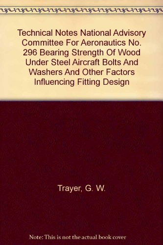 Technical Notes National Advisory Committee For Aeronautics No. 296 Bearing Strength Of Wood Under Steel Aircraft Bolts And Washers And Other Factors Influencing Fitting Design