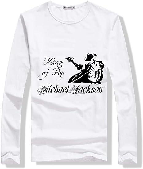 JJZHY Camiseta Estampada de algodón para Hombre Camiseta de Manga Larga de algodón Disfraz de Michael Jackson: Amazon.es: Deportes y aire libre