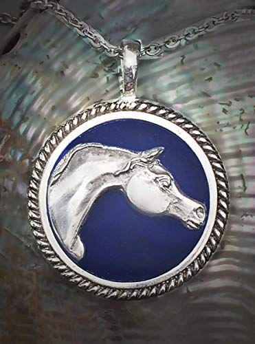 Arabian Horse pendant in mirror polished pewter set in blue clay