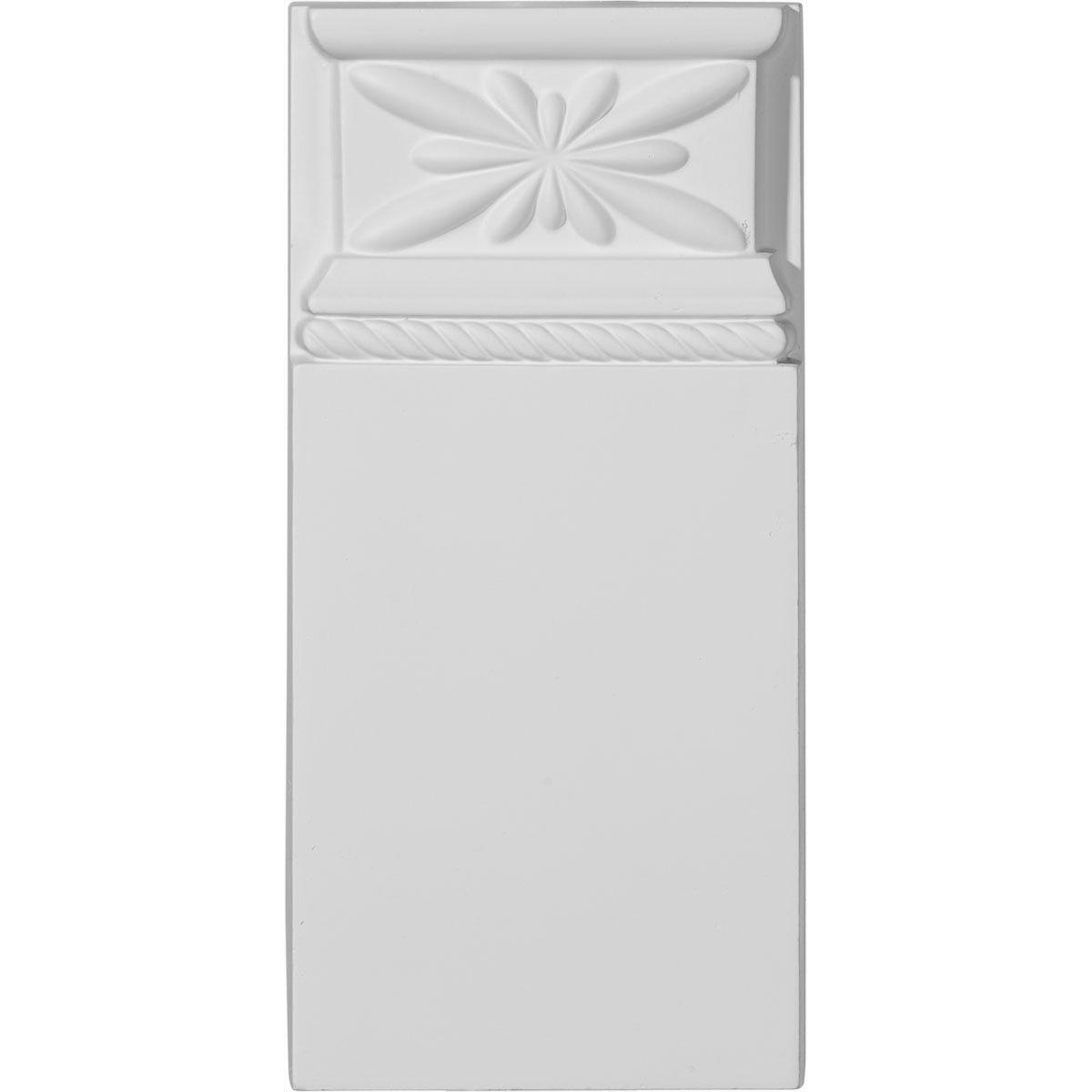 2-Pack Ekena Millwork PB04X09X01BR-CASE-2 4 3//8 W x 9 H x 1 1//8 P Bradford Plinth Block x 9 1//8 H x 1 1//8 P Primed White