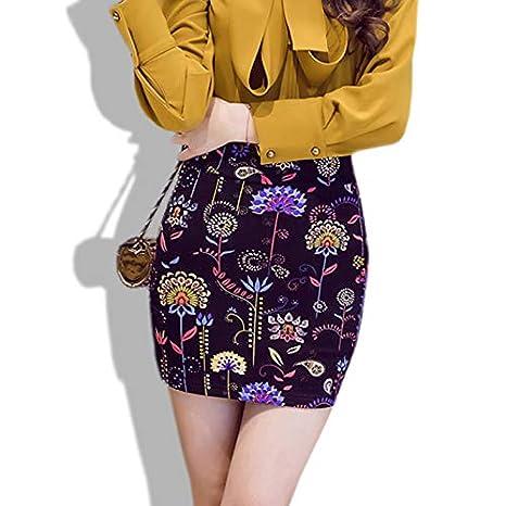 QBXDQ Falda Corta Vintage Retro Estampado Floral Lápiz Falda Corta ...