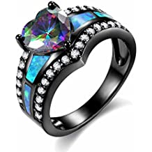 MGIE Fire Opal Women Jewelry Colored Heart Cut Cubic Zirconia Gemstone 18K Black Gold Plated Ring