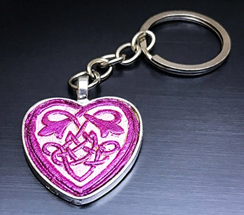 Pink Celtic Heart Hand-Painted Tooled Veg Tanned Leather Keychain