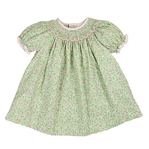 Petit Ami Little Girls' Bishop Scallop Smocked Angel Wing Dress, Size 4, Mint -