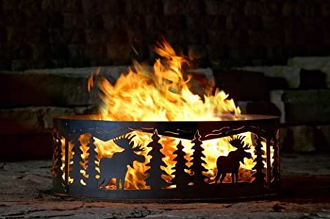Campfire Fire Ring w Moose Cutout Design - Solid Steel (48 in. Dia.) (Moose Fire Pit Ring)