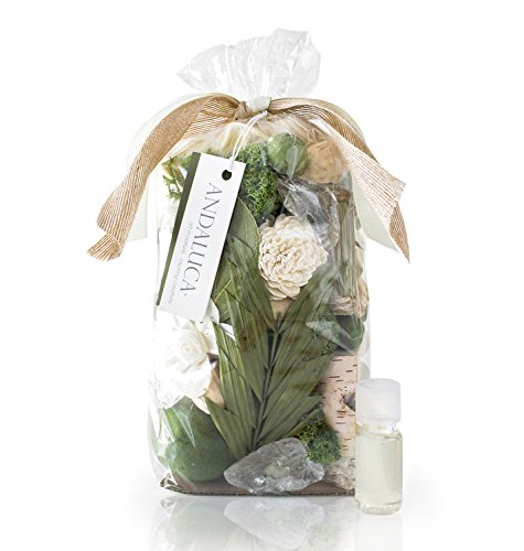 Andaluca Gardens of Bali Potpourri | Large 20 oz Bag + Fragrance Vial | Scents of Crushed Jasmine Leaves, Tangelo Peel, Lily, Rose, White Musk and Bamboo Wood | Green Home Decor Fragrance (Leaf Green Home Fragrance)