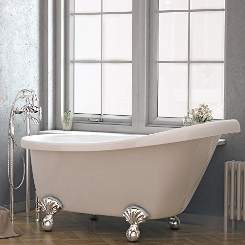 Luxury 60 inch Clawfoot Tub with Vintage Slipper Tub Design in White, includes Polished Chrome Ball and Claw Feet and Drain, from The Brookdale Collection by Pelham & White