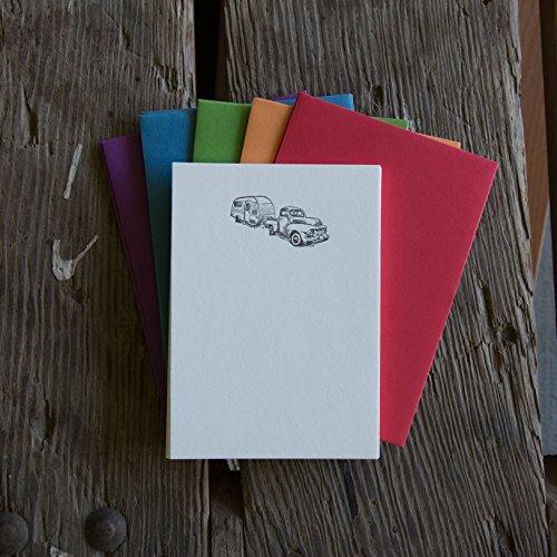 Vintage Truck Stationery Set, note card 10 pack, letterpress printed eco friendly. (Letterpress Baby Shower Invitations)