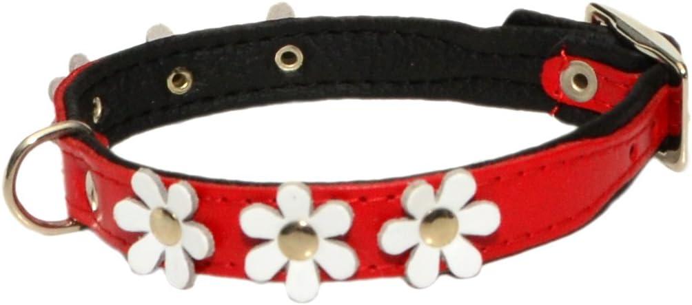 ZOOLESZCZ Collare per Cani in Pelle Fiore Designer Daisy Colore Imbottito Fatto a Mano Rosso con Rivestimento Nero e Bianco Flower