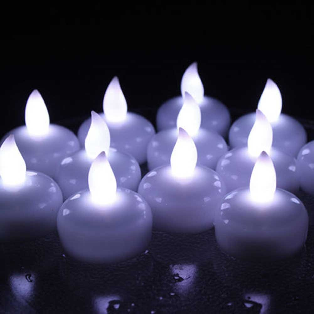 12 Waterproof LED Floating Tea Light Flameless Candle for Wedding Party White Amber Faux Tealights (Yellow) Cathery