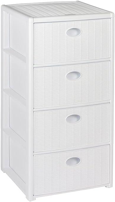 Kreher - Cajonera (con ruedas, plástico, con 4 cajones, dimensiones: 40 x 40 x 81 cm), diseño de ratán, color blanco: Amazon.es: Hogar