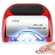 48W Nail Dryer-Lumcrissy Professional Automatic Sensor Quikly Dry Diamond Shaped CCFL & LED UV Nail Lamp (UV & LED 2 in 1 Nail Gel Lamp), Curing Nail Dryer for LED UV Gel Nail Polish nail tools (Red)