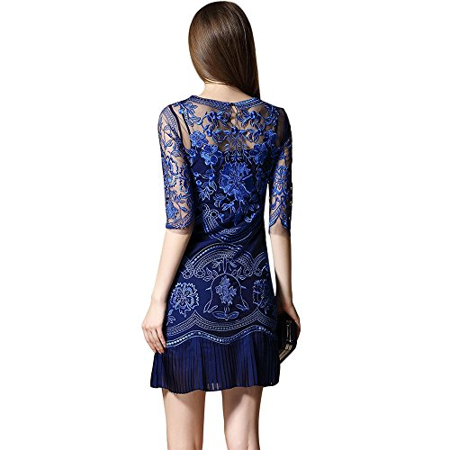 transparenten Spitze Floral dezzal Party Tüll Damen Kleid Ball Blau bestickter Cocktail qRIwXR