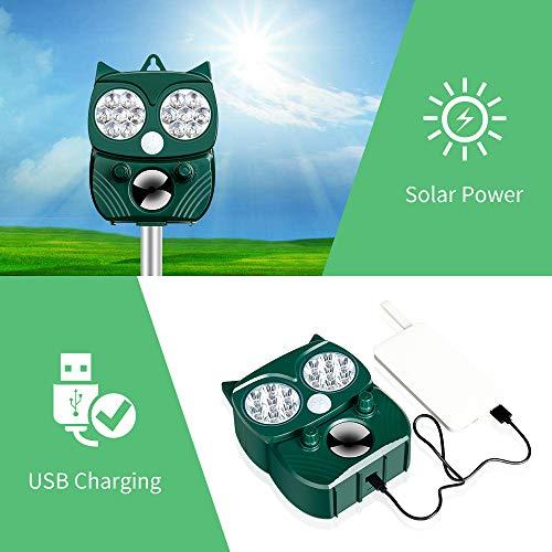 Professionale Repellente Gatti,Repellente Ultrasuoni Energia Solare IP66 Impermeabile a Frequenza Regolabile per Allontanare Animali 5 Modalità Regolabile Repeller Animali Ultrasound Repellente