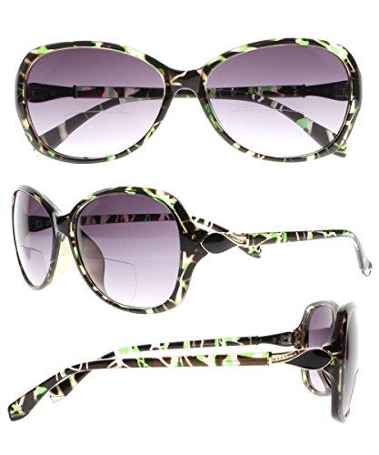 Stylish Designer Cat Eye Diamond Bifocal Tinted Reading Glasses Sunglasses Sun Readers All In One (Black&Green, 2.0)