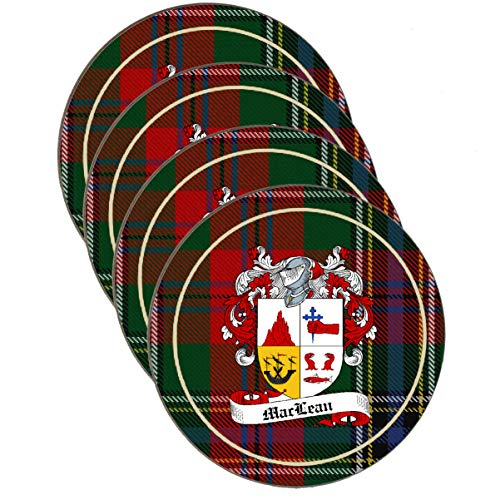 - MacLean Scottish Clan Shield Round Drinks Coaster on MacLean tartan background - SET OF FOUR