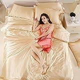 Luxury 4-Piece Satin Silky Bed Sheet Set Bedding Collection,Duvet Cover Sets Flat Sheet Set-Camel,Queen