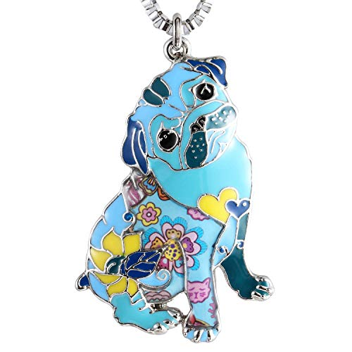 Luckeyui Cute Pug Pendant Necklace Gift for Women Unique Blue Enamel Dog Charm Jewelry Used as Keychain