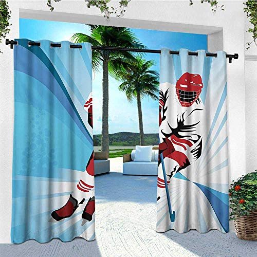 leinuoyi Hockey, Outdoor Curtain Panels Set of 2, Hockey Player Makes a Strong Shot on Goal Rival Illustration Abstract Backdrop, for Patio W96 x L96 Inch Blue Red White