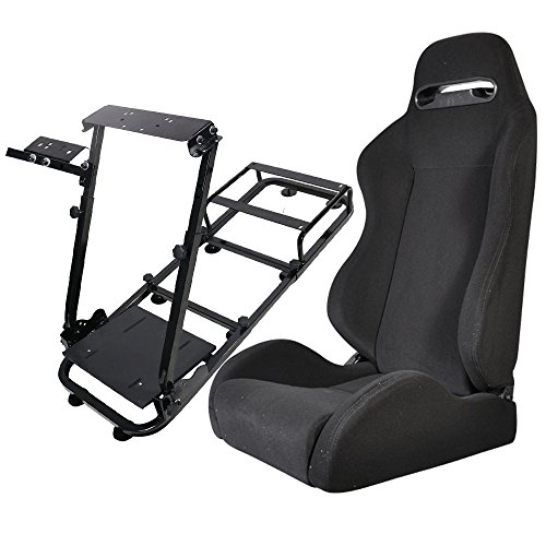 Price comparison product image Racing Seat Fits universal | Black Cloth With Black Stitch Cockpit Driving Simulator Gaming Chair Playseats W/Gear Pedals Mount | by IKON MOTORSPORTS