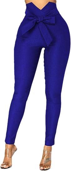 Qiangjinjiu 女性ズボンカジュアルペーパーバッグパンツスリム弾性ウエストポケットパンツ