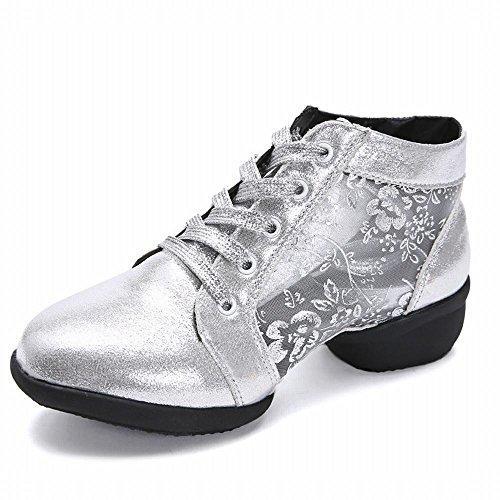 BYLE Goma Baile de de Tobillo Parte de Onecolor Zapatos Modern de Jazz Plata Samba Cuero Sandalias de Zapatos Suave Suela r6gzqxr