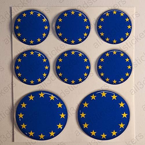 Pegatinas Escarapela Europa Redondas 8 x Pegatina Bandera Europa Resina Relieve 3D Diana Adhesivo Vinilo: Amazon.es: Coche y moto