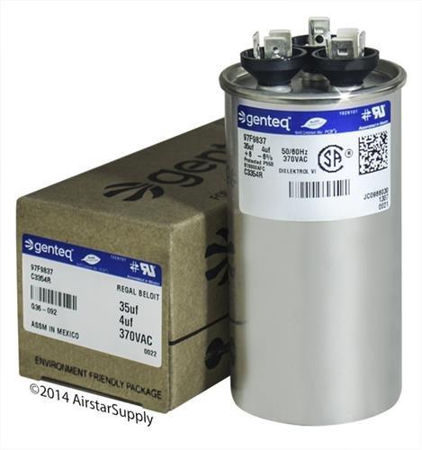 GE Capacitor round 35/4 uf MFD 370 volt 97F9837, 35 + 4 MFD at 370 volts