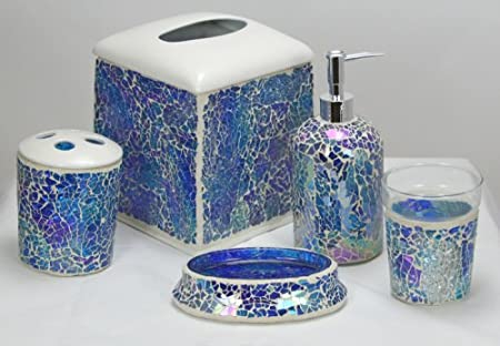 Charmant Iridescent Blue Mosaic Glass 5 Piece Bathroom Set