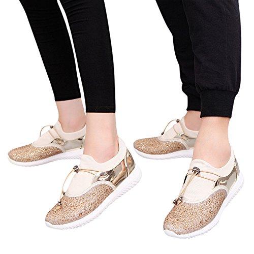 Haop Mens Donna Unisex Casual Sneakers Sportive In Esecuzione Traspirante Mesh Scarpe Oro
