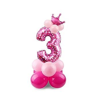 Globos Foil Número 3 Patrón de aluminio inflable globo de la hoja de dibujos animados para la fiesta de cumpleaños de niños de la decoración del ...