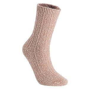 Lian LifeStyle Women's 4 Pairs Pack Fashion Soft Cotton Crew Socks Size 6-9 HR1614-4P-08(Tan)