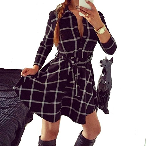 Mini Check Broadcloth Shirt (Perfect-Sense-Show Autumn Plaid Dresses Explosions Leisure Vintage Dress Fall Women Check Print Spring Casual Shirt Dress Mini Dr)