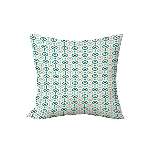 iPrint Polyester Throw Pillow Cushion,Ikat,Colorful Chain Pattern Abstract Geometric Peacock Tail Eastern Culture Decorative,Sea Green Pale Orange Ruby,17.7x17.7Inches,for Sofa Bedroom Car Decorate