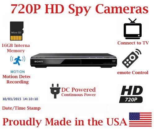 SecureGuard DVD Player 720P Spy Camera SD Card DVR Nanny Camera