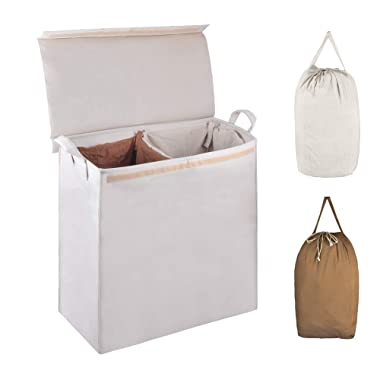 MCleanPin Foldable Double Laundry Hamper with 2 Sorting Liners,2 Section Laundry Sorter with Lid,Removeable Laundry Bags with Drawstring Closure and Handles,Clothes Hamper for College,Dorm Room.Beige