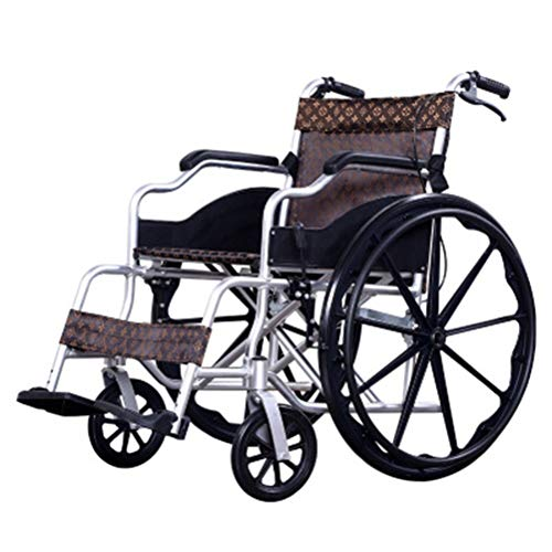 NKDK Wheelchair Folding Thick Aluminum Wheelchairs Elderly Scooters Disabled Folding Carts (Material : B)