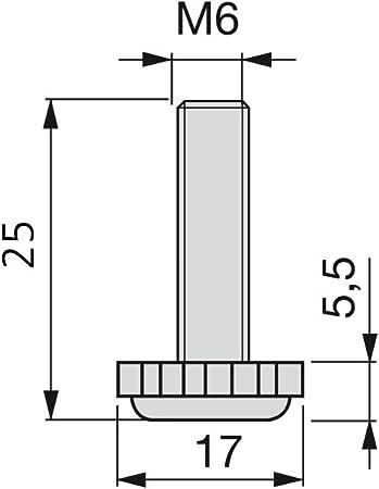 rosca M6x30mm Emuca 2020305 Pie nivelador para mueble Lote de 20 piezas