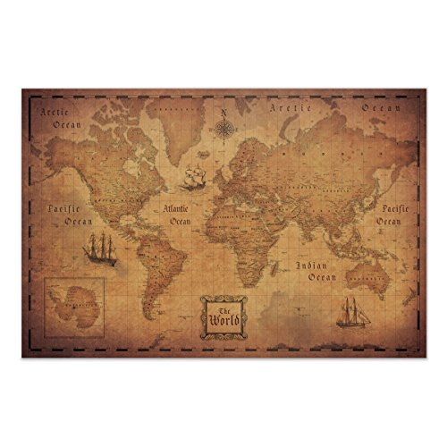 Map of the World (Poster) Conquest Maps - Antique Vintage Map decor-Travels & Adventures! Quality matte paper - pirate style world treasure map - City/State/Country Labels - 2015 Data (48 ()