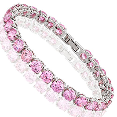 (RIZILIA Round Cut Simulated Pink Sapphire CZ 18K Gold Plated Tennis Bracelet, 7