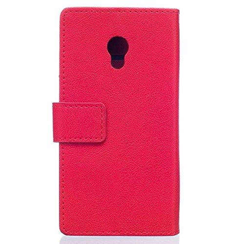 JIALUN-carcasa de telefono Caja de cuero de la caja de la PU de la textura de Kasi del color sólido de la cubierta Caja de la carpeta del caso del soporte del tirón con las ranuras del efectivo de la  Red