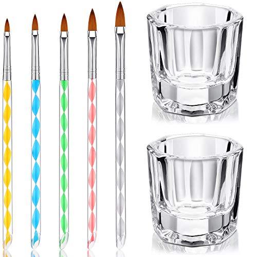 🥇 7 Herramientas de Cuidado Manicura incluye 2 Platos Vasos de Cristal de Arte de Uñas y 5 Pinceles de Uñas de Acrílico Gel Diseño 3D para Acrílico Líquido Herramienta de Diseños para Uñas