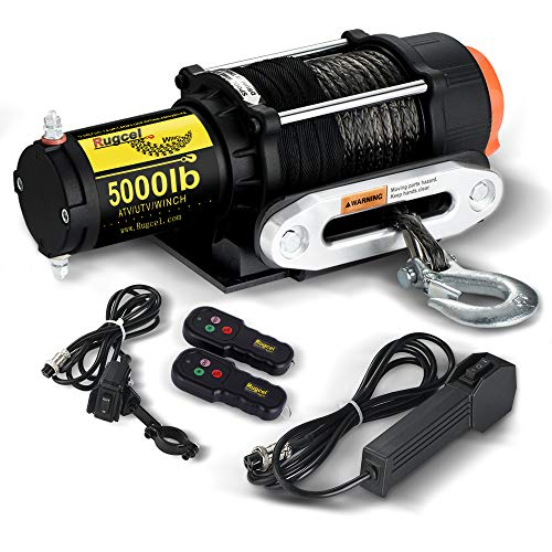 RUGCEL WINCH Waterproof IP68 Electric Winch with Hawse Fairlead,Steel Wire Rope, 2 Wired Handle and 2 Wireless Remote (5000 lb.Load Capacity-Synthetic Rope)