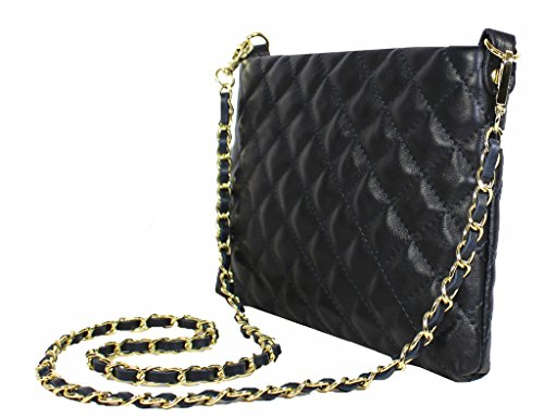 Leather Real Italian White Shoulder Genuine Gold Classic Chain Quilted with Strap Handbag Bag amp; E6qwdTx